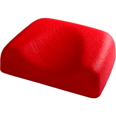 Miękki podgłówek do solarium w kolorze czerwonym.