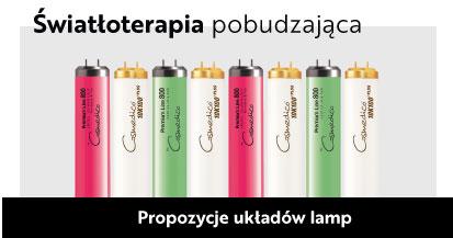 układ lampy hybrydowe czerwone, zielone, białe instalacja, do solarium