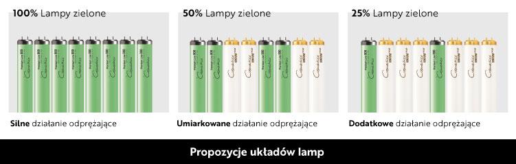 układ lampy hybrydowe zielone instalacja, do solarium